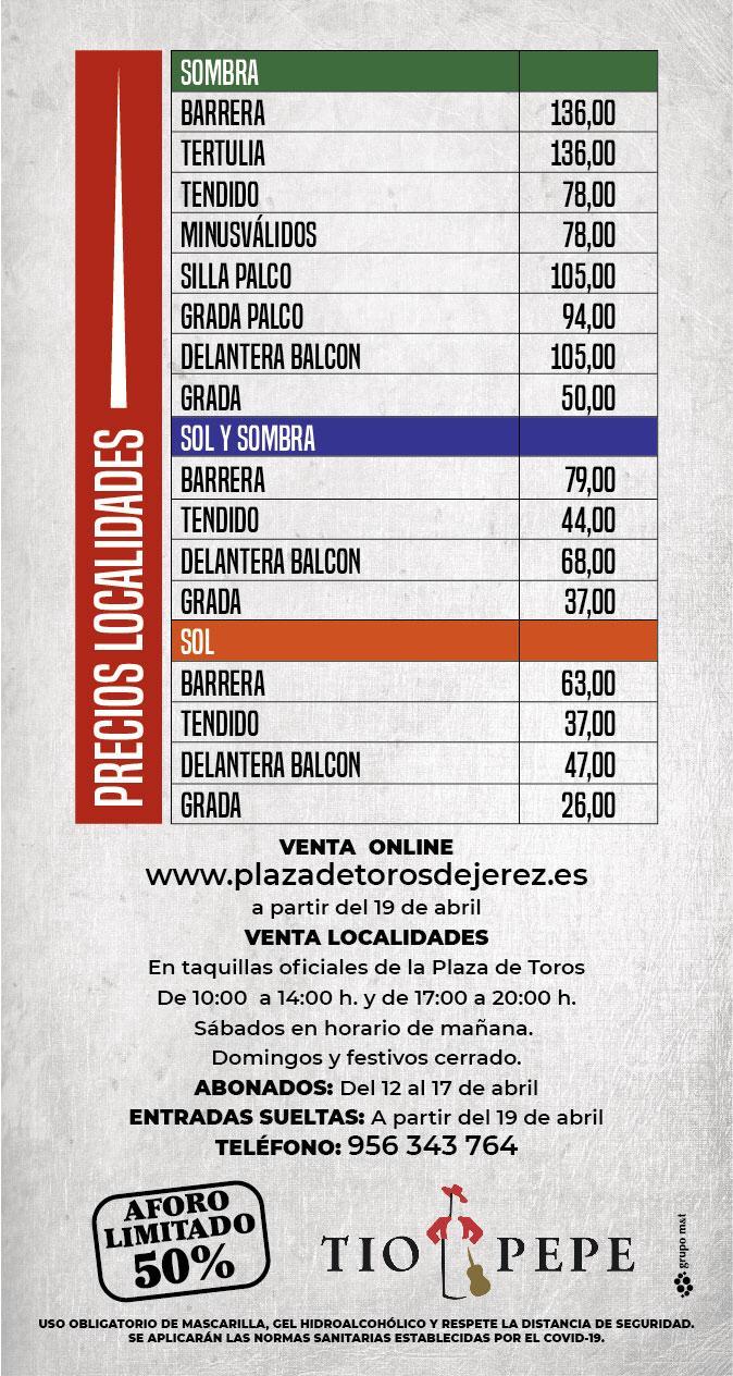 Precios feria taurina Jerez 2021