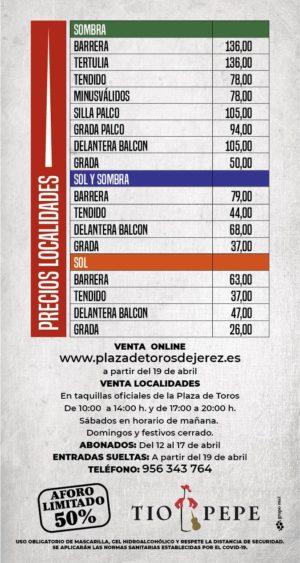 Precios feria taurina de Jerez 2021